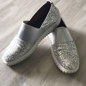 Shoes - Custom sneakers fit for 6.5m silver sparkles